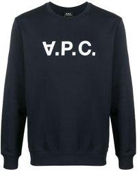 A.P.C. - Logo-print Round Neck Sweatshirt - Lyst