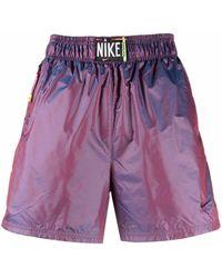 Nike Logo-patch Metallic Shorts - Purple