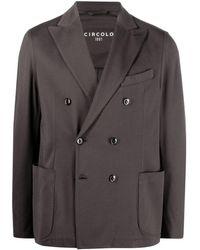 Circolo 1901 Double-breasted Cotton Blazer - Grey