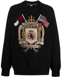 Tommy Hilfiger Boxy Fit Logo Crest Embroidered Sweatshirt - Black