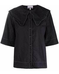 Ganni Scallop-collar Blouse - Black