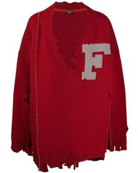 Raf Simons Oversized Ripped V-neck Sweater - Red