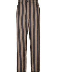 Fendi Stripe Print Silk Pants - Brown