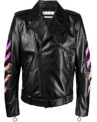 Off-White c/o Virgil Abloh Arrows Printed Leather Jacket - Black