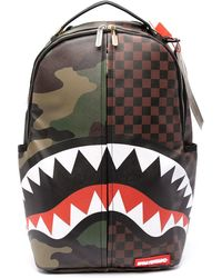 Sprayground Camouflage And Check-print Backpack - Brown