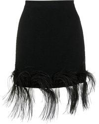 Patou Feather Cotton Tweed Miniskirt - Black