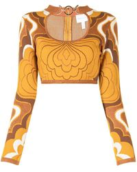 Alice McCALL In Music Intarsia-knit Top - Brown
