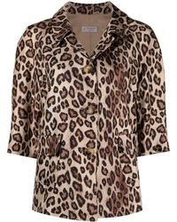 Alberto Biani Cropped Leopard-print Silk Jacket - Multicolour