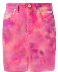 MSGM Tie-dye Denim Skirt - Pink