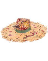 Etro Paisley-print Raffia Sun Hat - Multicolour