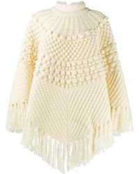 Saint Laurent Chunky-knit Poncho - Natural
