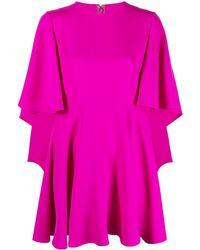 Valentino Ruffle-detail Silk Dress - Pink
