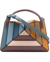 Mlouye Colour-block Leather Tote Bag - Blue