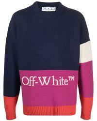 Off-White c/o Virgil Abloh Colour-block Logo Jumper - Blue