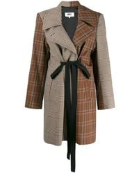 MM6 by Maison Martin Margiela Patchwork Tweed Coat - Brown