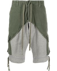 Greg Lauren Mid-rise Two-tone Panelled Shorts - Green