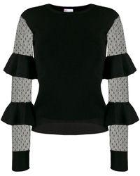 RED Valentino Point D'spirit Polka Dot Mesh Bell-sleeve Jumper - Black