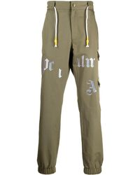 Palm Angels Logo-print Cargo Trousers - Green