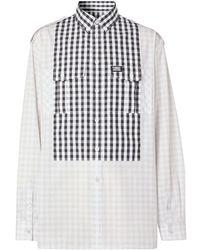 Burberry Gingham Detail Long-sleeved Shirt - Grey