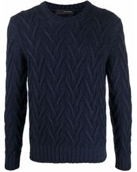 Tagliatore Zig-zag Knit Virgin Wool Sweater - Blue