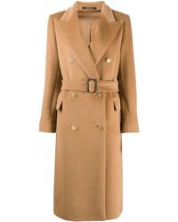 Tagliatore Belted Double Breasted Coat - Brown