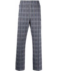 Needles Plaid-print Elasticated-waist Trousers - Blue