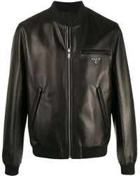 Prada Reversible Leather Bomber Jacket - Black