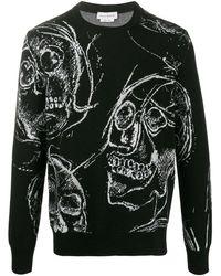 Alexander McQueen - Skull-print Knitted Jumper - Lyst