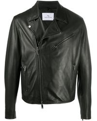 Tagliatore Leather Biker Jacket - Black