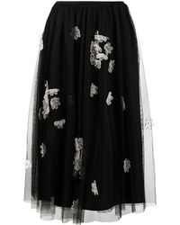 RED Valentino Floral-applique Tulle Layered Skirt - Black
