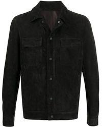 Salvatore Santoro Leather Shirt Jacket - Black