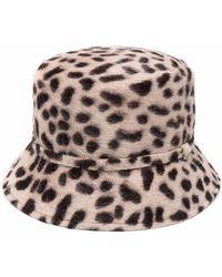 Catarzi Leopard-print Felted Bucket Hat - Brown