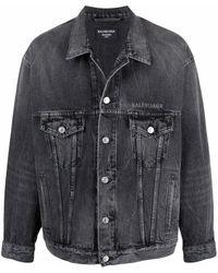 Balenciaga - Smiley-face Print Denim Jacket - Lyst
