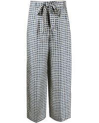 Max Mara Geometric-print Silk Trousers - Blue