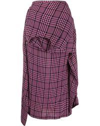 Colville Plaid Asymmetric Shirt-style Skirt - Purple