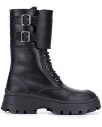 Miu Miu Chunky Lace-up Boots - Black