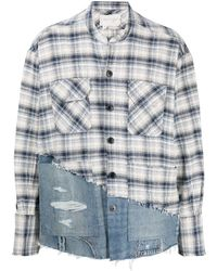 Greg Lauren River Panelled Shirt - Blue