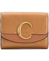Chloé Mini C Tri-fold Wallet - Metallic