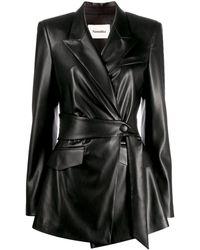 Nanushka Wrap Faux-leather Jacket - Black