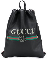Gucci Logo Print Leather Drawstring Backpack - Black