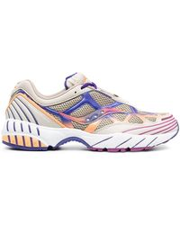 Saucony Wave-panelled Low-top Trainers - Multicolour