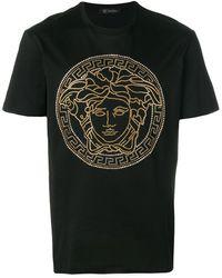 Versace Medusa Crystal-embellished T-shirt - Black