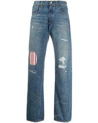 Junya Watanabe X Levi's Mid Rise Striped Panel Jeans - Blue