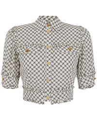 Elisabetta Franchi Graphic-print Cropped Shirt - Grey