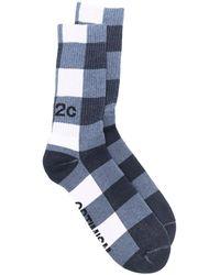 032c Check-print Ankle Socks - Blue
