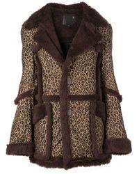 R13 Leopard-print Coat - Brown