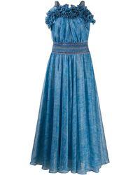 Philosophy Di Lorenzo Serafini Long-line Pleated Dress - Blue