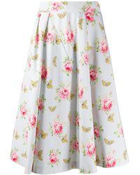 Prada Roses Print Faille Skirt - Blue