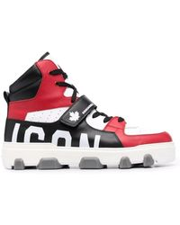 DSquared² Panelled High-top Trainers - White