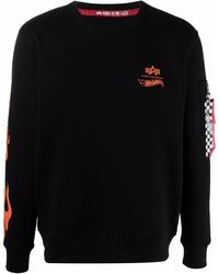 Alpha Industries Flame-print Sweatshirt - Black